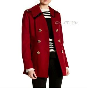 Michael Kors Wool Pea Coat Dark Red Like New SP